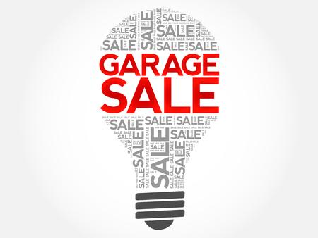 GARAGE SALE bulb word cloud, business concept background