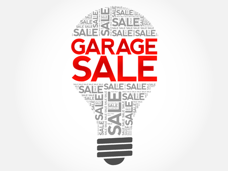 GARAGE SALE bulb word cloud, business concept background