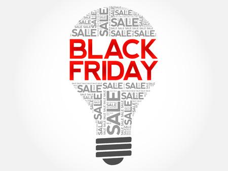 Black Friday SALE bulb word cloud, business concept background Illustration
