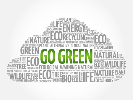 Go Green word cloud, conceptual green ecology background
