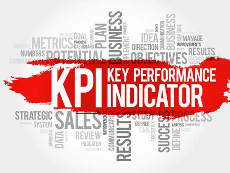 KPI - Key Performance Indicator word cloud collage, business concept background 일러스트