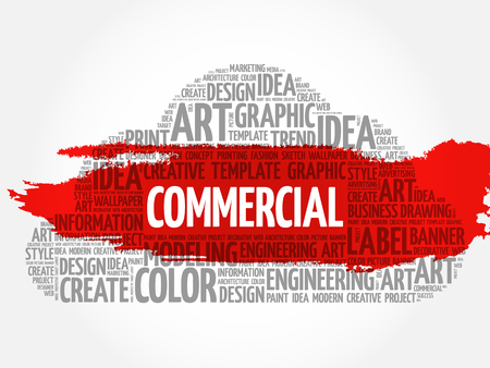 COMMERCIAL word cloud, creative business concept background. Illustration