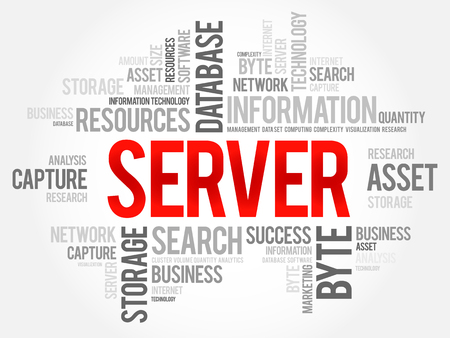 SERVER word cloud collage, business concept background.