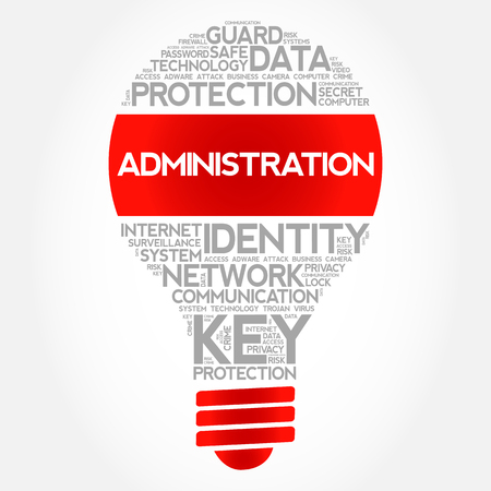 ADMINISTRATION bulb word cloud collage, business concept background. Illustration