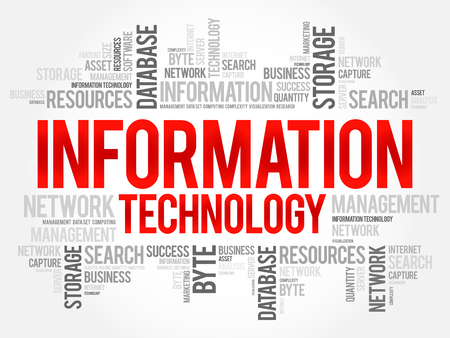 Information technology word cloud collage, business concept background.