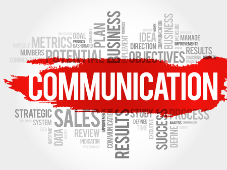 Communication word cloud collage, business concept background.