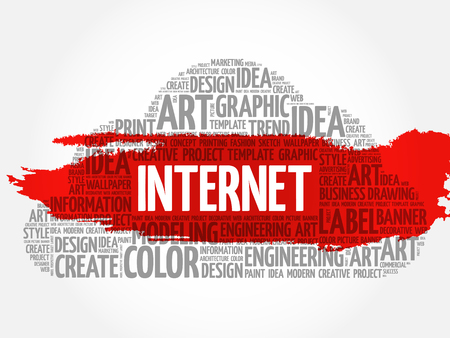 INTERNET word cloud, creative business concept background. Illustration
