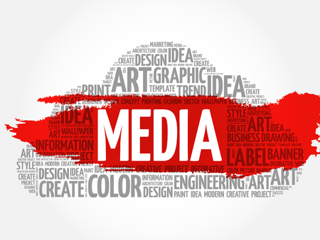 MEDIA word cloud, creative business concept background