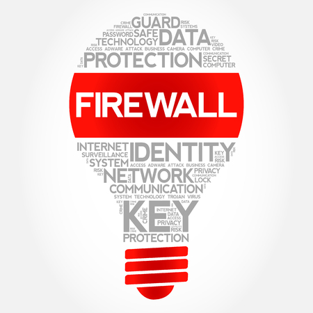 FIREWALL bulb word cloud collage, business concept background.