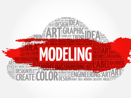 MODELING word cloud, creative business concept background. 矢量图像