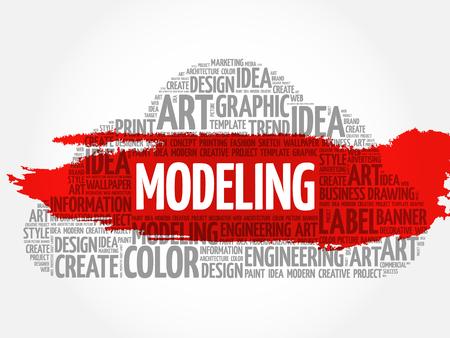 MODELING word cloud, creative business concept background. Ilustração