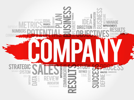 Company word cloud, business concept illustration. Vettoriali