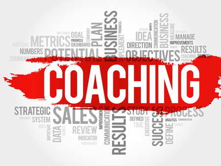 Coaching word cloud, business concept illustration.