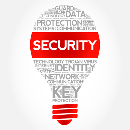 SECURITY bulb word cloud collage, business concept background.