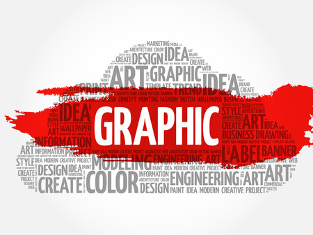 GRAPHIC word cloud, creative business concept background. Illustration