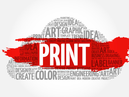 PRINT word cloud, creative business concept background.