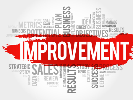 Nuage de mot d'amélioration, illustration de concept d'entreprise.