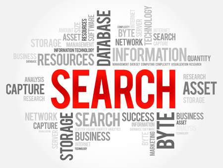 SEARCH word cloud collage, business concept background.