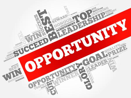 Opportunity word cloud collage, business concept background Illusztráció