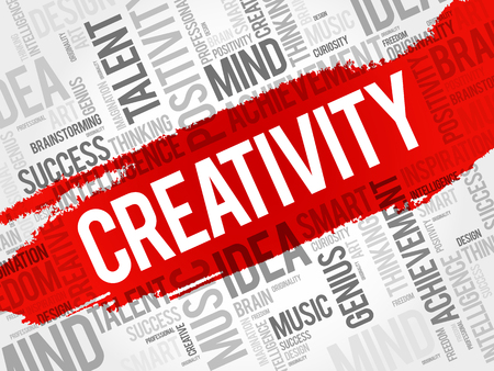 Creativity word cloud collage, creative business concept background