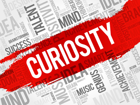 Curiosity word cloud collage, creative business concept background Vettoriali