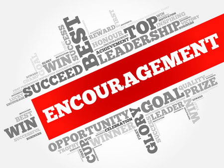 Encouragement word cloud, business concept background.