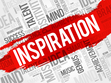 Inspiration word cloud collage, creative business concept background