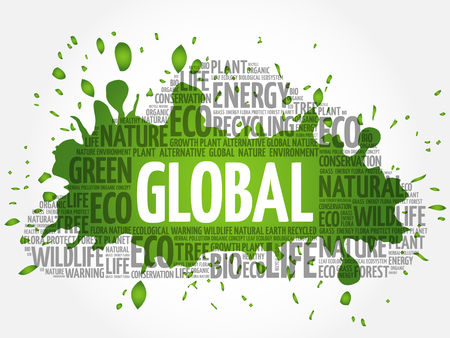 Global word cloud, conceptual green ecology background