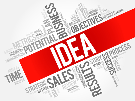 Idea word cloud, business concept Illustration