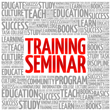 Training Seminar word cloud collage, education concept background