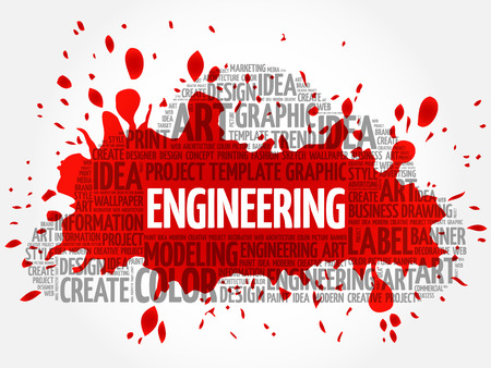 Engineering word cloud, creative business concept background