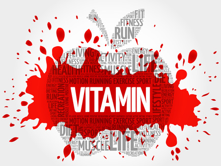 Vitamin apple word cloud, health concept