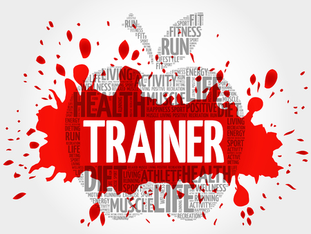 Trainer apple word cloud, health concept Vectores