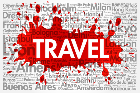 TRAVEL word cloud concept made with words cities names, business concept background