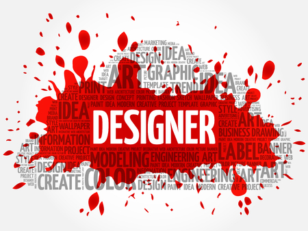 DESIGNER word cloud, creative business concept background Çizim