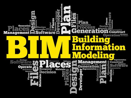 BIM-빌딩 정보 모델링 단어 구름, 비즈니스 개념