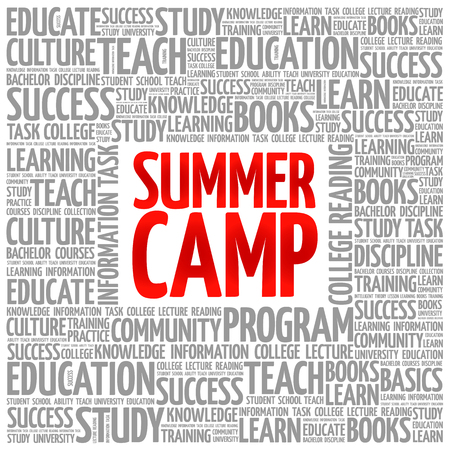 Summer Camp word cloud, education concept background