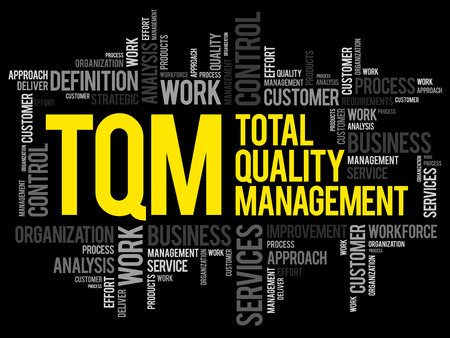 TQM - Total Quality Management word cloud, business concept background Vector illustration.