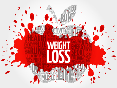 WEIGHT LOSS apple word cloud, health concept