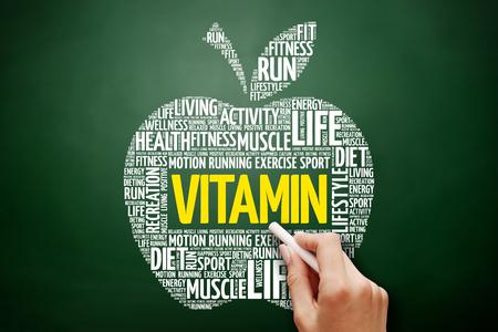 VITAMIN apple word cloud collage, health concept on blackboard