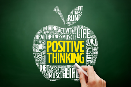 Positive thinking apple word cloud collage, health concept on blackboard Reklamní fotografie