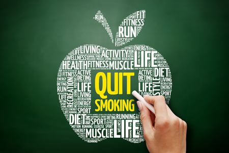 Quit Smoking apple word cloud collage, health concept on blackboard