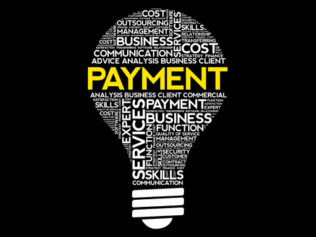 Bulb shape with Payment word and other white words Banque d'images - 98718364