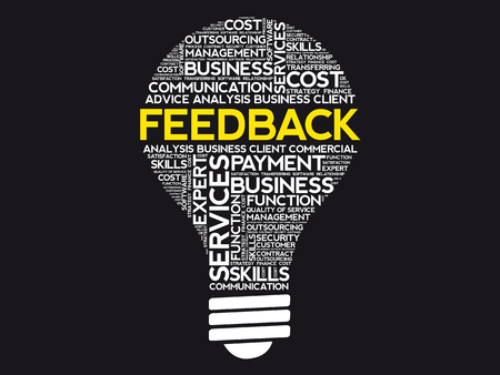 Feedback bulb word cloud, business concept background
