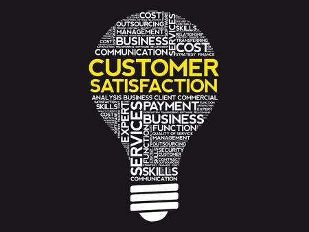 Customer Satisfaction bulb word cloud, business concept Vettoriali