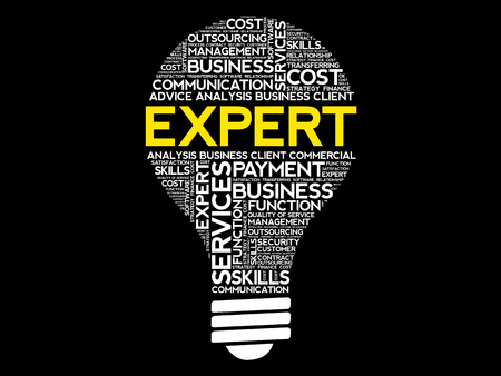 Expert bulb word cloud, business concept Illustration