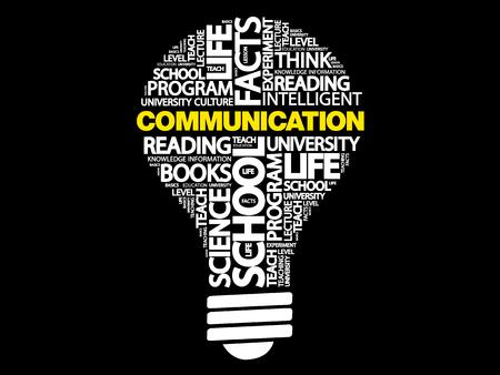 COMMUNICATION bulb word cloud, business concept