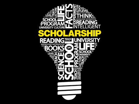 Scholarship bulb word cloud, business concept Vectores