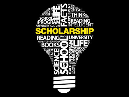 Scholarship bulb word cloud, business concept Illustration