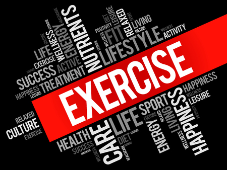 EXERCISE word cloud collage, health concept background. Illustration